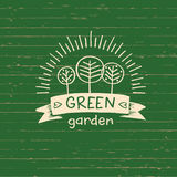 Vector logo green garden.Logo organic food. Hand drawn element  Stock Photo