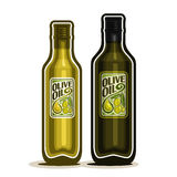 Vector logo 2 green glass Bottles with pure Olive Oil. Vector logo 2 green glass Bottle with pure Olive Oil, bottles virgin cooking olive oil, container natural Royalty Free Stock Images