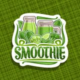 Vector logo for green Smoothie. Decorative cut paper sticker with illustration of juicy vegetables set, bottle and mason jar with homemade blended liquid royalty free illustration