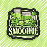 Vector logo for green Smoothie. Black decorative signage with illustration of juicy vegetables set, bottle and mason jar with homemade blended beverage royalty free illustration
