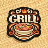 Vector logo for Grill. Black decorative signboard with fried chicken legs, sirloin mutton steak, healthy zucchini, fresh tomatoes and sweet corn on round grid stock illustration
