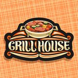 Vector logo for Grill House. Black decorative sign board with fried chicken legs, sirloin steak, healthy zucchini, tomatoes and sweet corn on round grid royalty free illustration