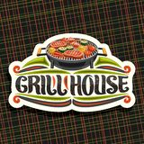 Vector logo for Grill House. White decorative sign board with fried chicken legs, sirloin steak, healthy zucchini, tomatoes and sweet corn on round grid stock illustration