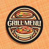 Vector logo for Grill Menu. Black decorative sign board with fried chicken legs, fat sirloin steak, healthy zucchini, fresh tomatoes and sweet corn on grid royalty free illustration