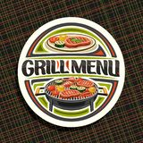 Vector logo for Grill Menu. White decorative sign board with fried chicken legs, fat sirloin steak, healthy zucchini, fresh tomatoes and sweet corn on grid vector illustration