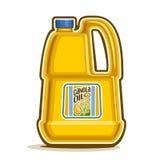 Vector Logo große gelbe Plastikflasche mit Rapsöl stock abbildung