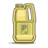 Vector Logo großes gelbes Plastikflaschen-Reis-Kleie-Öl lizenzfreie abbildung