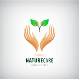 Vector logo - hands holding leaves, eco icon, nature care. Royalty Free Stock Image