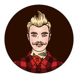 Vector logo hipster  in a shirt with tattoos Stock Photography