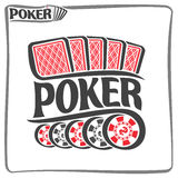 Vector logo of holdem Poker. Consisting of five red playing cards back for gambling game and 5 black plastic tokens chips with dollar sign for casino, poster royalty free illustration