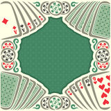 Vector logo holdem Poker. Vintage poker table with retro playing cards green back, dollar sign on token casino chips, gamble game, set hand combinations: four vector illustration
