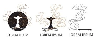 Vector logo for hookah, with the image of smoke vector illustration