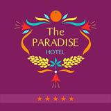 Vector logo for the hotel. The paradise. The wreath of flowers and fruit. Resort, tourist, tropical hotel vector illustration