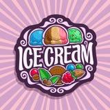 Vector logo for Ice Cream. 3 scoop balls of blue bubble gum ice cream, neapolitan sundae dessert, mint chocolate chip gelato icecream, in vintage sign Stock Photos