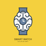 Vector logo icon with brain and clock. Smart watch outline flat Stock Photo