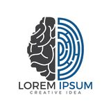 Vector logo icon with brain and fingerprint. Brainstorm power thinking brain Logotype icon Royalty Free Stock Photo