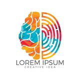 Vector logo icon with brain and fingerprint. Brainstorm power thinking brain Logotype icon Stock Images