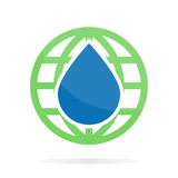 Vector logo or icon combination of water and earth Royalty Free Stock Image