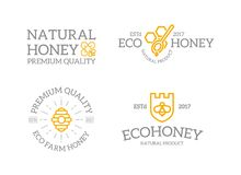 Set of retro vintage honey and shield with a bee, honeycomb, hive logo or insignia, emblems, labels and badges and other. Vector logo or icon design element for Royalty Free Stock Photos