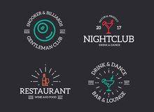 Set of retro vintage night club, billiard, cocktail, disco logo or insignia, emblems, labels and badges and other vector illustration