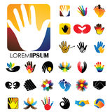 Vector logo icon designs of hands and feet. This represents concepts like meditation & yoga, love & commitment, care & hope, family & children, expressions & Stock Photos