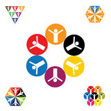 Vector logo icon designs of people, children, friendship Royalty Free Stock Photos