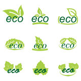Set of ecology icons or logos with green leaves Royalty Free Stock Photography