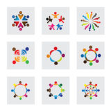 Vector logo icons of children playing together. This also represents unity, partnership, leadership, community, engagement and interaction, teamwork and team Stock Photos