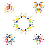 Vector logo icons of people together - sign of unity, partnershi. P. this also represents community, engagement & interaction, teamwork & team, children playing Stock Image