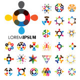 Vector logo icons of people together - sign of unity, partnershi. P. this also represents community, engagement & interaction, teamwork & team, children playing Royalty Free Stock Image