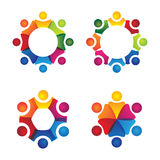 Vector logo icons of people together - sign of unity, partnershi Royalty Free Stock Images