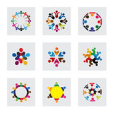 Vector logo icons of people together - sign of unity. Partnership, leadership, community, engagement and interaction, teamwork, team children kids, employees Stock Photo