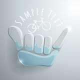 Vector logo. Illustration. Shaka and bicykle symbol. Summer water sport game emblem. Sportsclub or championship symbol Stock Images