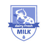 Vector logo with the image of a cow. Milk and milk. Products, ice cream. Blue background, heraldic style Stock Photos