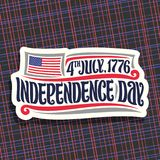 Vector logo for Independence Day of USA. Cut paper sign for patriotic holiday of united states - July 4th with national flag of usa, original brush typeface Royalty Free Stock Images