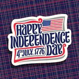 Vector logo for Independence Day of USA. Cut paper sign for patriotic holiday united states July 4th with national flag of usa, original brush typeface for vector illustration