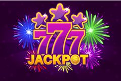 Vector LOGO JACKPOT and 777. Shooting colored stars and firework. Game banner. And background stock illustration