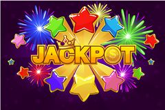 Vector LOGO JACKPOT and shooting star royalty free illustration