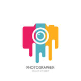 Vector logo, label, emblem design template. Isolated digital photo camera with colorful stripes. Concept for photographer, portfolio, photo album and photo app Royalty Free Stock Images