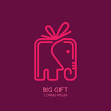Vector logo, label or emblem design template with linear style elephant gift box. Stock Photography