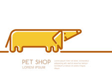 Vector logo, label or emblem design template with linear style friendly dachshund dog. Stock Photos