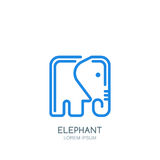 Vector logo, label or emblem design template with linear style square elephant. Royalty Free Stock Photo