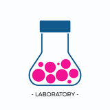 Vector logo for laboratory. Or research oriented needs. Flat design flask with rounded liquid vector illustration