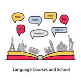 Vector logo for the language courses and schools. Royalty Free Stock Photos
