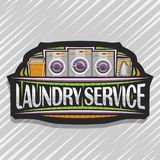 Vector logo for Laundry Service. Black decorative tag with 3 automatic laundromats in a row, orange basket with linens, electric iron and stack of towels vector illustration