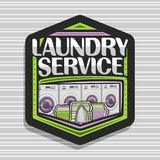 Vector logo for Laundry Service. Black hexagonal tag with 4 automatic laundromats in a row, green basket with linens, electric iron and stack of towels vector illustration