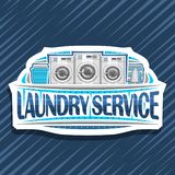 Vector logo for Laundry Service. White decorative tag with 3 automatic laundromats in a row, blue basket with linens, electric iron and stack of towels stock illustration