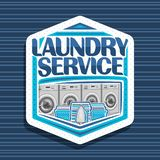 Vector logo for Laundry Service. White hexagonal tag with 4 automatic laundromats in a row, blue baskets with linens, electric iron and stack of towels vector illustration