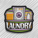 Vector logo for Laundry. Black signboard with automatic washing machine, orange basket with linens, electric iron and stack of towels, original brush typeface stock illustration
