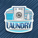 Vector logo for Laundry. White decorative signage with automatic washing machine, blue basket with linens, electric iron and stack of towels, original typeface royalty free illustration